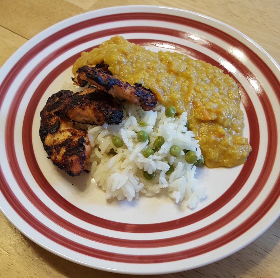 Tandoori chicken and coconut lentils