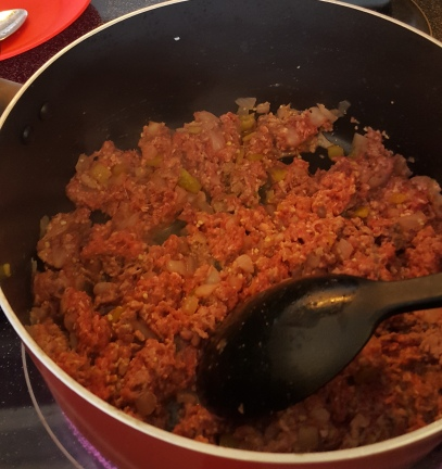 Chilli mince cooking