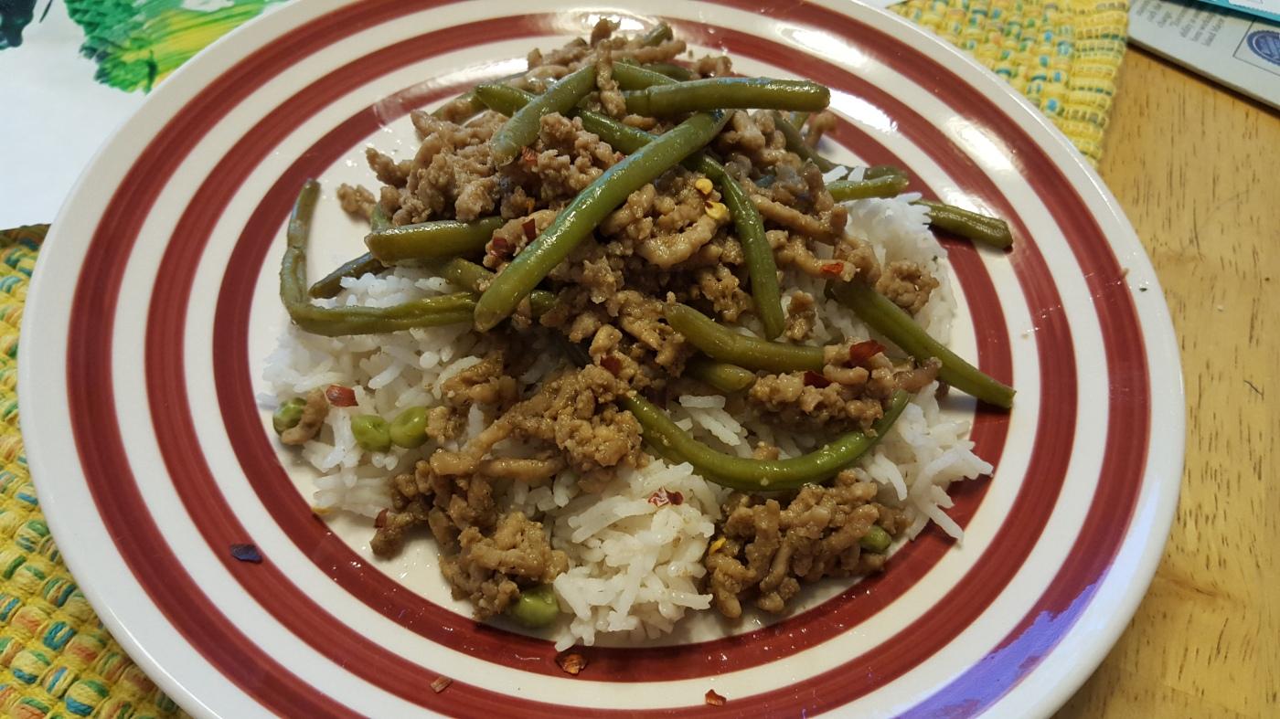 Chinese pork & green bean stir fry