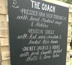 The Coach Pub in the Park menu